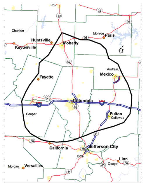 Coverage Map Columbia MO Site Missouri Southern Illinois